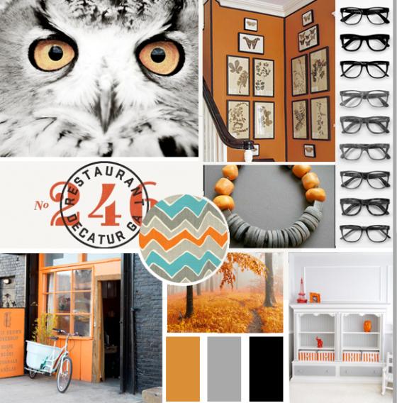 Orange and Gray Mood Board