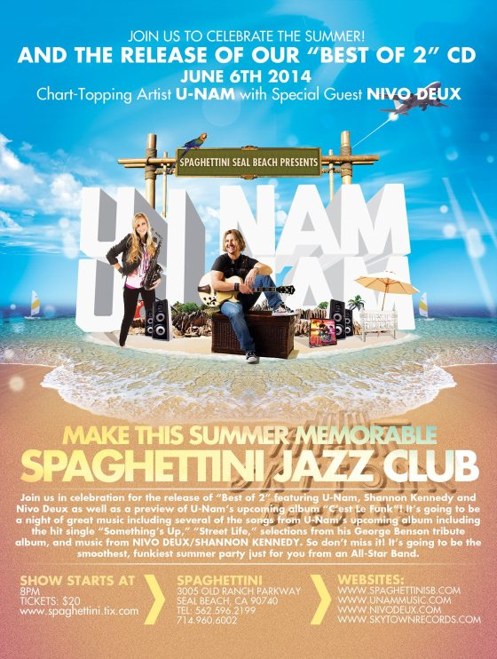 U-Nam, Shannon Kennedy and Nivo Deux at Spaghettini's Seal Beach 2014